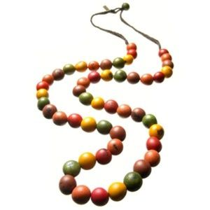 New Maria Oiticica Braided Dyed Seed Bead Necklace